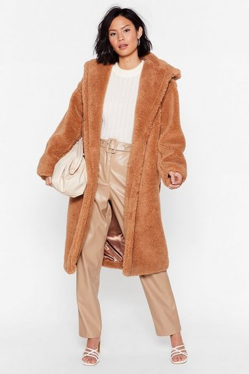 Camel Searched Faux Fur and Wide Longline Hooded Coat