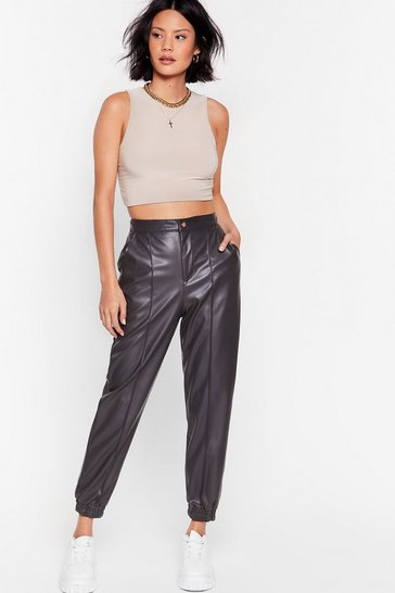 Grey Seams Like Heaven Faux Leather Joggers