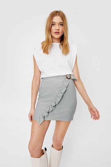 Sage Ruffle Front Buckle Detail Mini Skirt