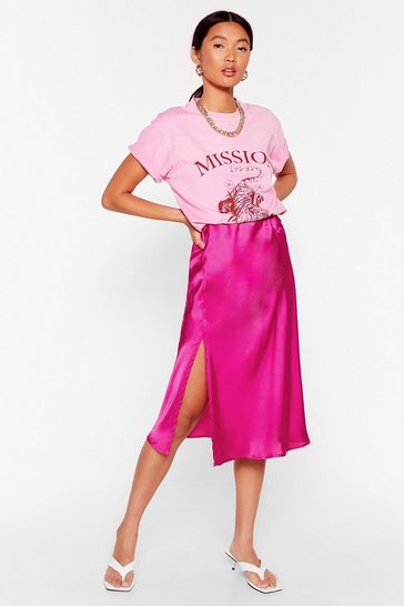 Fuchsia Slit the Mark Satin Midi Skirt