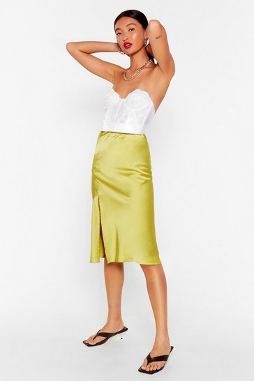 Lime Slit the Mark Satin Midi Skirt
