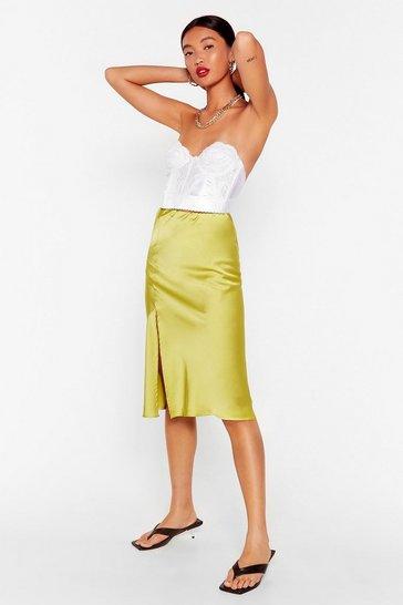 Lime Slit the Mark Satin Midi Skirt