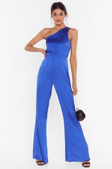 Blue Taking Flare of Business One Shoulder Jumpsuit