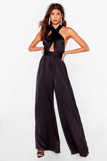 Black Satin Wide Leg Halter Jumpsuit