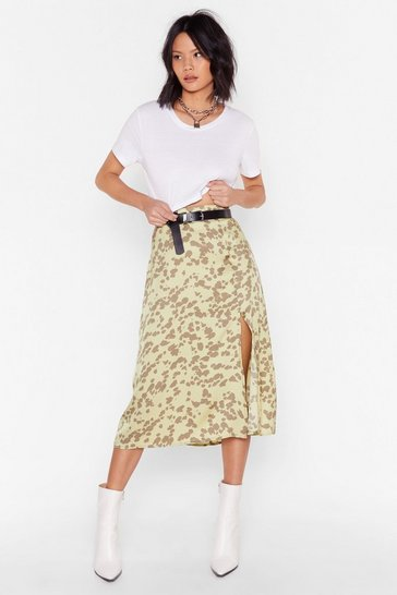 Sage Go Wild Animal Midi Skirt