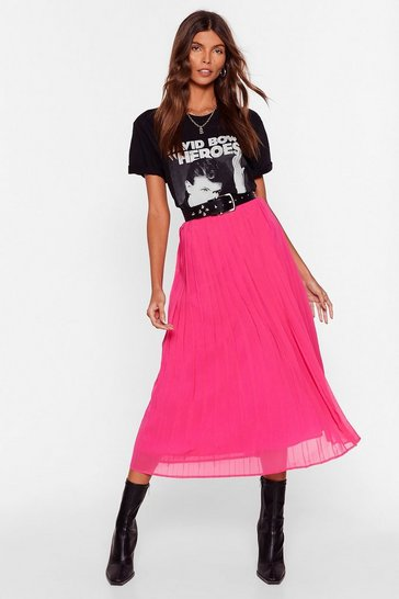 Hot pink In the Drivers Pleat High-Waisted Midi Skirt