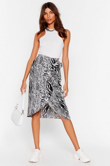 Black She Drives 'Em Wild Animal Midi Skirt