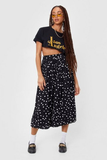 Black It's Dot Over Yet Pleated Midi Skirt