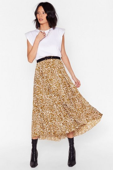 Khaki Make 'Em Want Roar Leopard Midi Skirt