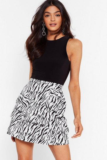 White Zebra Midi Skirt