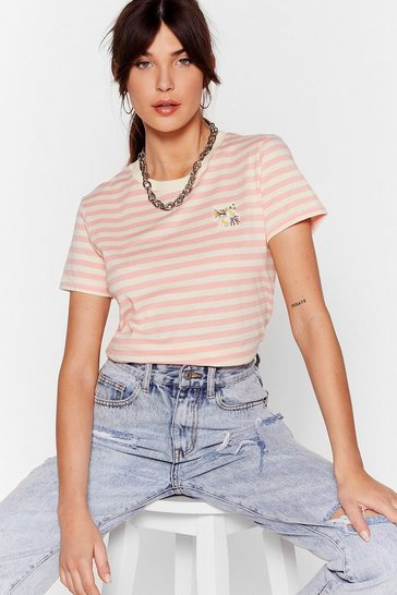 Coral Grow Them Who's Boss Embroidered Ringer Tee