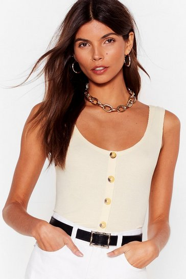 Cream  Rib Button Through Vest
