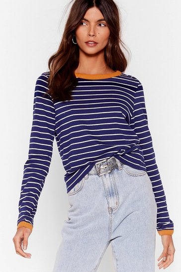 Navy We're Doin' Just Line Striped Ringer Top