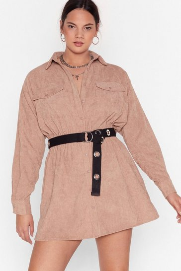 Stone Grab Your Cord Plus Shirt Dress