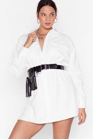 White Grab Your Cord Plus Shirt Dress