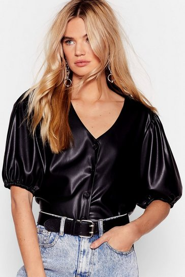 Black Puff Shoulder Faux Leather Shirt