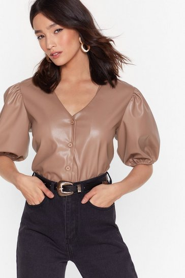 Mushroom Puff Shoulder Faux Leather Shirt