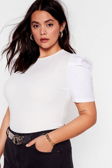 White We Like It Puff Plus Ribbed Top