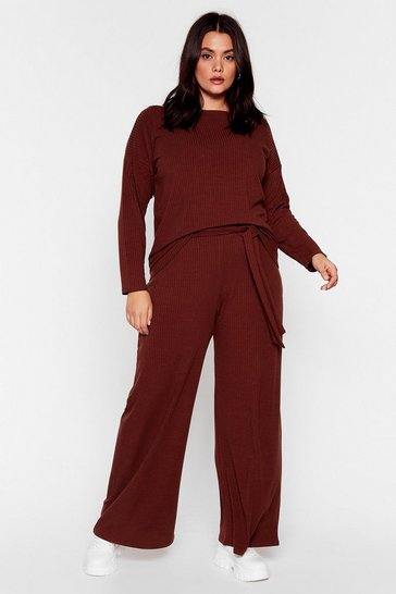 Chocolate Plus Size Knit Top and Belted Pants Set