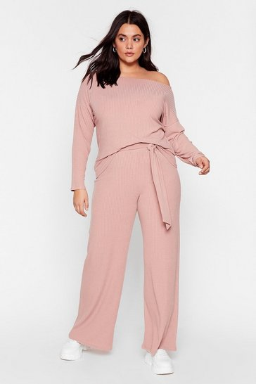 Rose Plus Size Knit Top and Belted Trousers Set