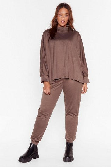 Mocha High Neck There Plus Joggers Lounge Set