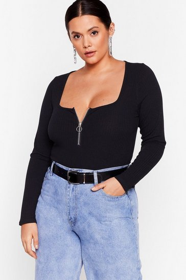 Black O-Ring It On Plus Ribbed Bodysuit