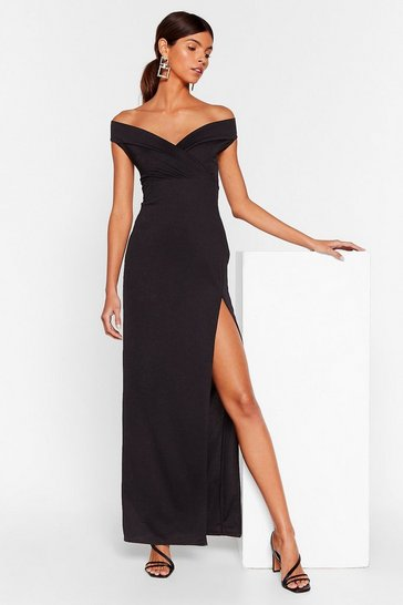 Black Make 'Em Swoon Off-the-Shoulder Maxi Dress
