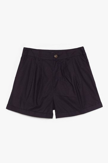 Black Linen in to Temptation High-Waisted Shorts
