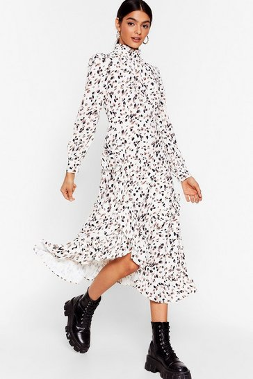 Cream Let's Get Wild Animal Midi Dress