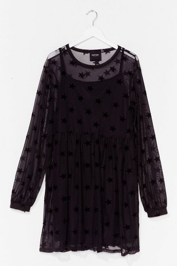 Black PLUS STAR MESH SMOCK DRESS