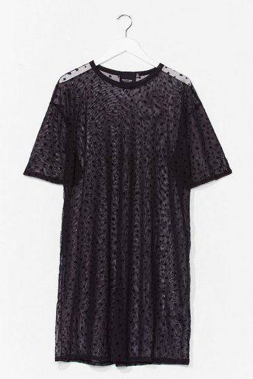 Black So Star Apart Plus Mesh Dress