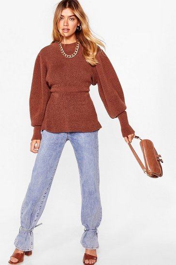 Chocolate Think About Knit Relaxed Balloon Sleeve Sweater