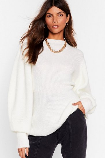 White Think About Knit Relaxed Balloon Sleeve Sweater
