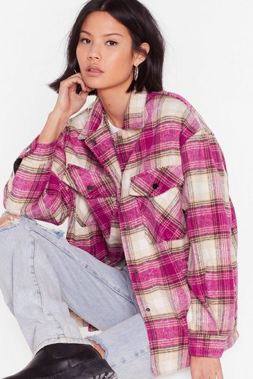 Pink Check Out the Facts Relaxed Shirt Jacket