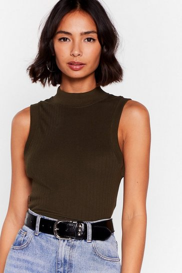 Khaki What the Neck Ribbed Crop Top