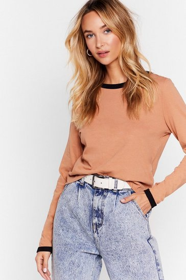 Camel We Have Basic Needs Contrast Ringer Top