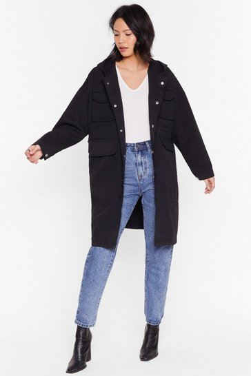 Black Champagne Oversized Parka Coat with Longline Silhouette
