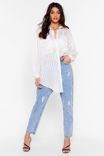 White Stripe Back at Ya Relaxed Semi-Sheer Shirt