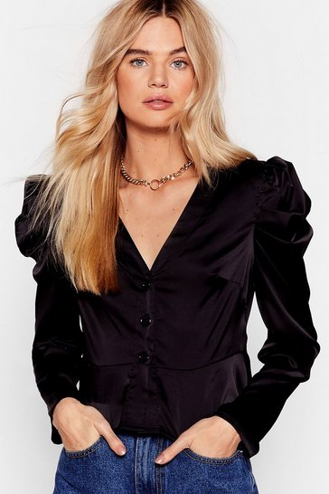 Black In Charge Puff Shoulder Satin Blouse