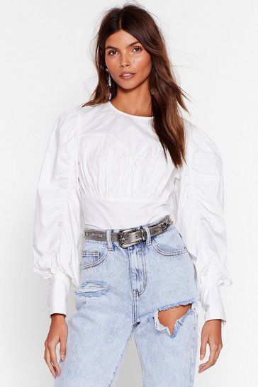 White Have You Seam Her Ruched Balloon Sleeve Blouse