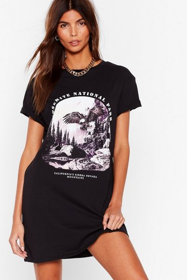 Black Oh So Fly Yosemite National Park Graphic Tee Dress