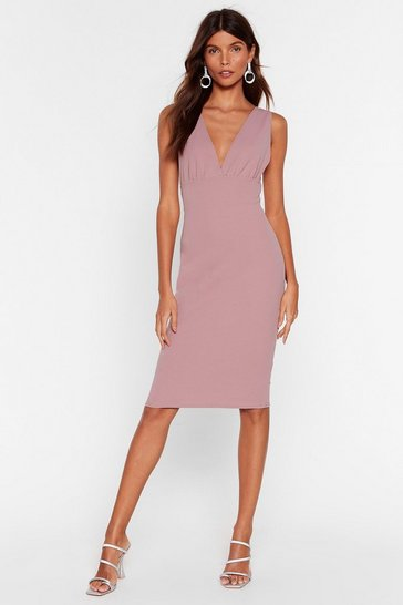 Dusty rose In Deep Plunging Midi Dress