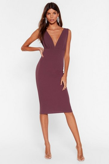 Mauve In Deep Plunging Midi Dress