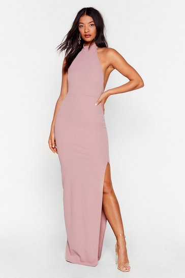 Dusty rose Slit While You're Ahead Halter Maxi Dress
