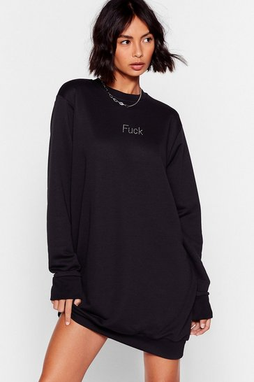 Black Fuck Diamante Sweatshirt Mini Dress