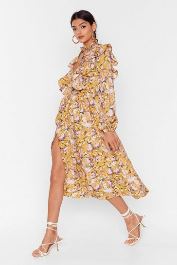 Mustard Floral You Know Ruffle Midi Dress