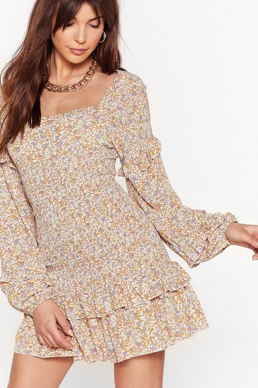 Orange Floral Shirred Long Sleeve Mini Dress