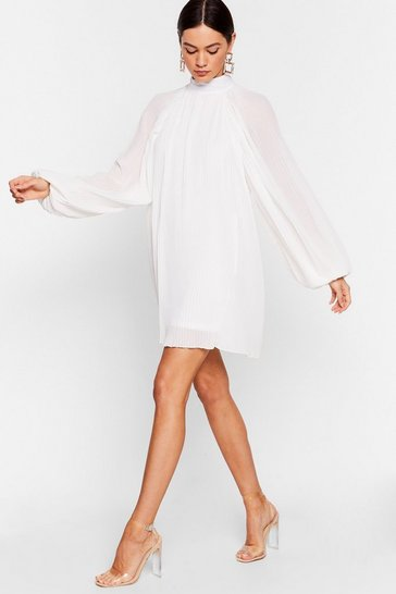 White The Pleat is On Chiffon Mini Dress