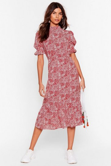 Red Floral High Neck Puff Sleeve Midi Dress