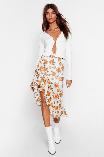 Yellow Cut Above the Rest Floral Midi Skirt